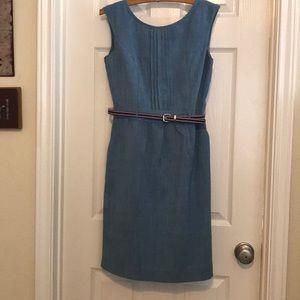 Sleeveless, summer blue dress with belt